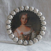 "White Enamel with Crystal Stones Studded Round 4x4"" Photo Frame(P0157633a2)"