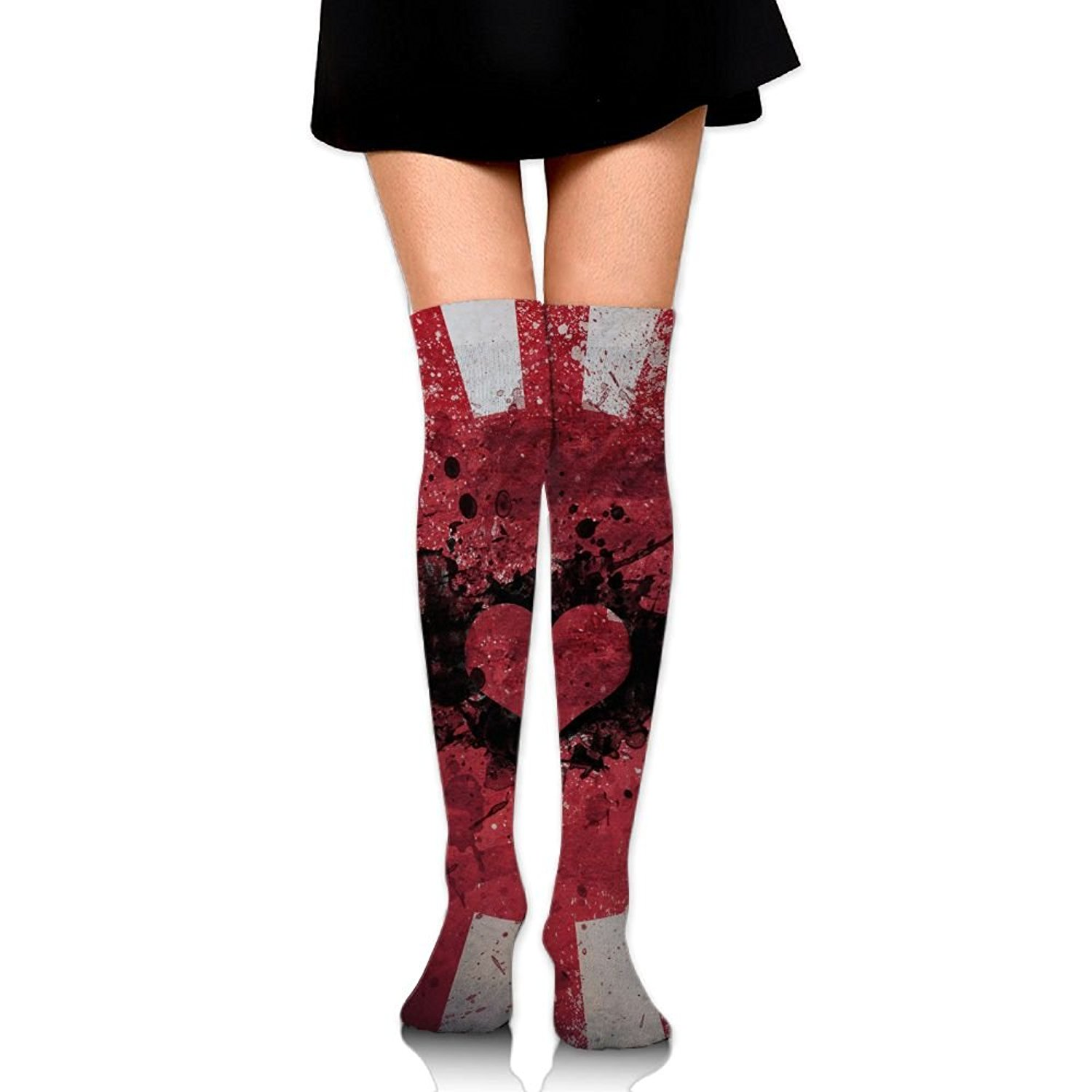 SOURCE POINT Womwn's Long Socks Vintage Japanese Imperial Flag Printing Stocking Sexy Knee High Socks