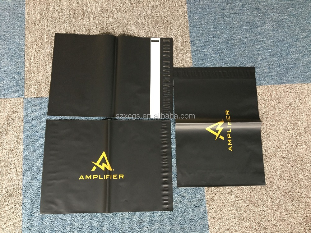 Black matt plastic mailing bags custom logo printing poly mailer with self-adhesive sticker