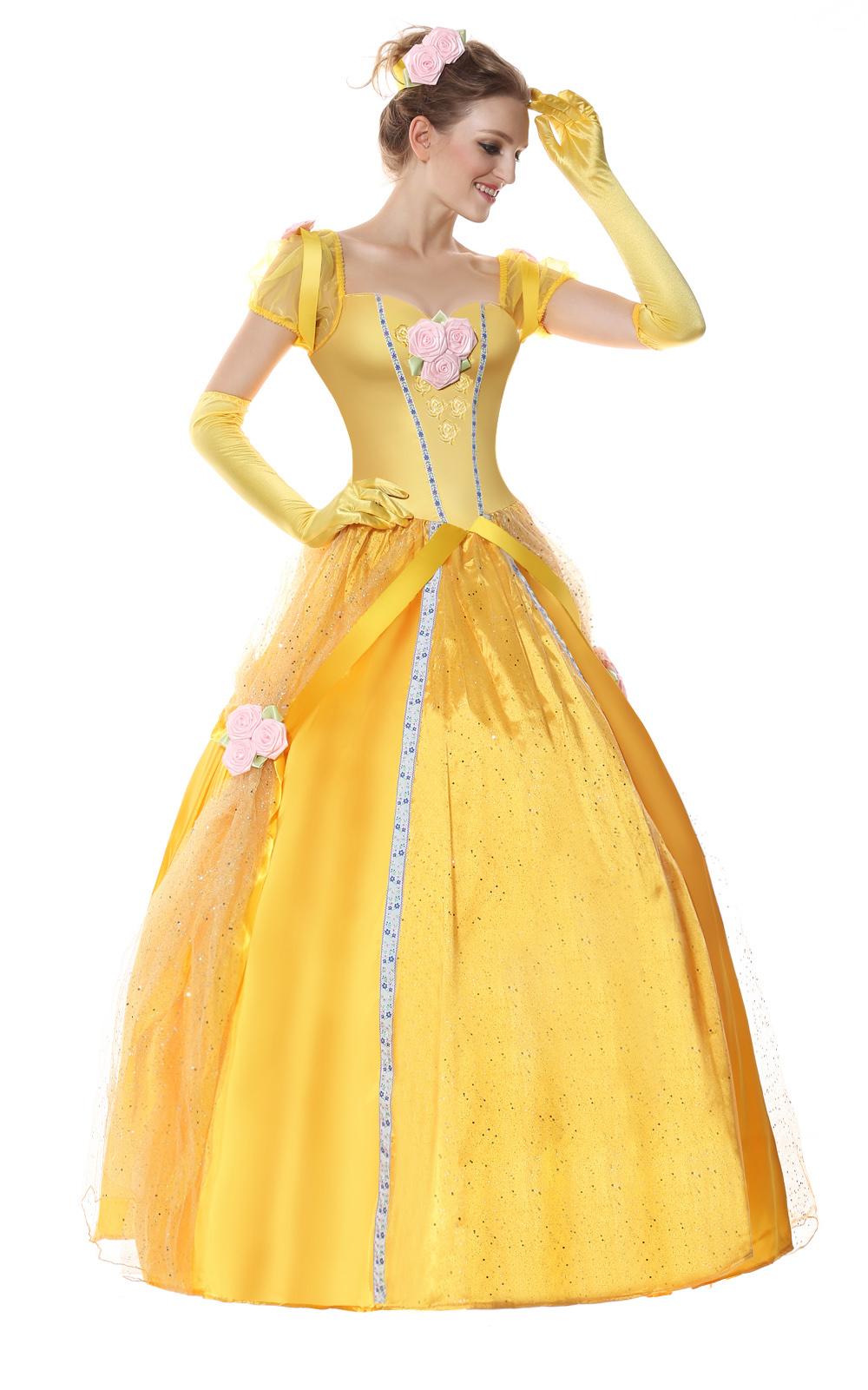 Newest Princess Dress Belle Yellow Dress Cosplay Princess Costume