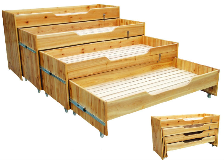 Most popular kids bedroom furniture teak wood furniture 4 seats kids wood  bed QX-196F