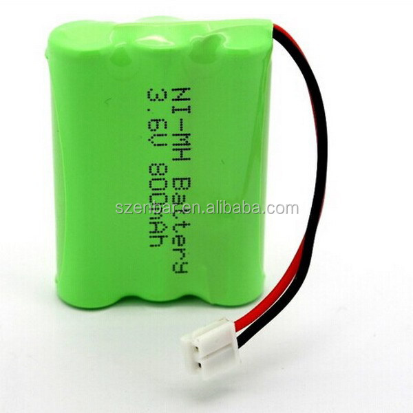 Rechargeable battery pack AA size battery 3.6V 800mAh NIMH battery