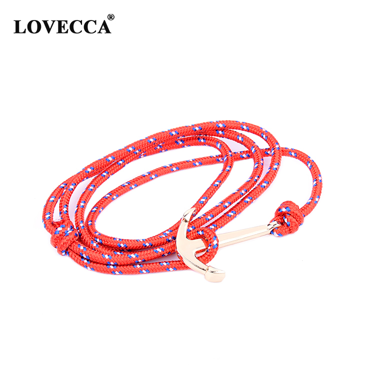 Mix color classical personalized rope leather men and female hook anchor bracelet rope armbnad