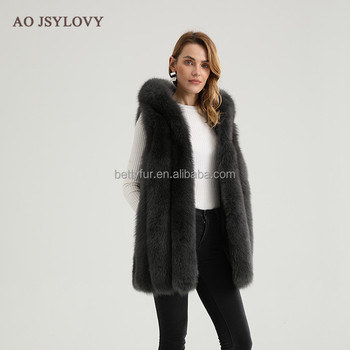 Russian style women natural affordable inexpensive female fox fur vest