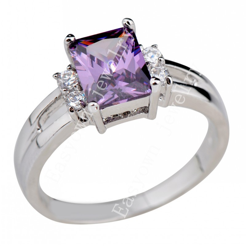 10pcs/lot Size 5/6/7/8/9/10 Women Fashion Jewelry Rings Amethyst Color Zircon Stone Finger Ring High Quality RW0254