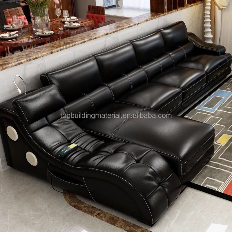 Free shipping massage leather sofa chaise