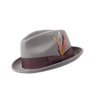 100% Wool Stitching Bowknot Feather Fedora Hat Men Wool Felt Hat