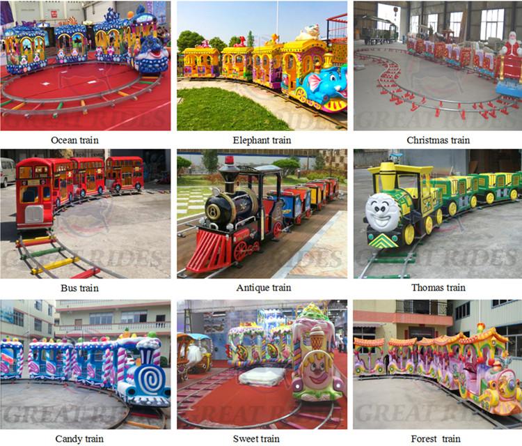 Barato parque de diversões atração elétrica mini estrada trackless train for sale