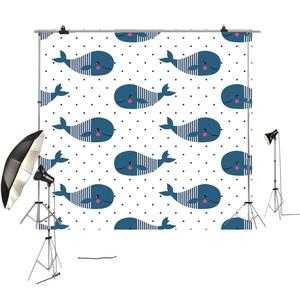 White spot background and blue whale cartoon cute children photography backdrop for XT7144