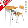 Single student desk and chair in school set/adjustable wood top study table & chair set with steel frame