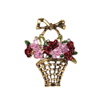 Vintage Enamel Fleur bouquet Brooch Handmade Colourful flower basket Cheap wholesale brooch