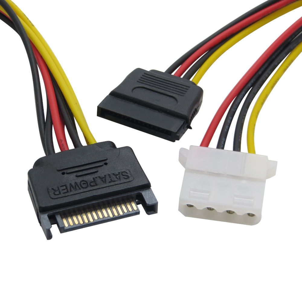 SATA 15 pin Male to 4 pin IDE Molex + SATA 15Pin Female Y Power Cable