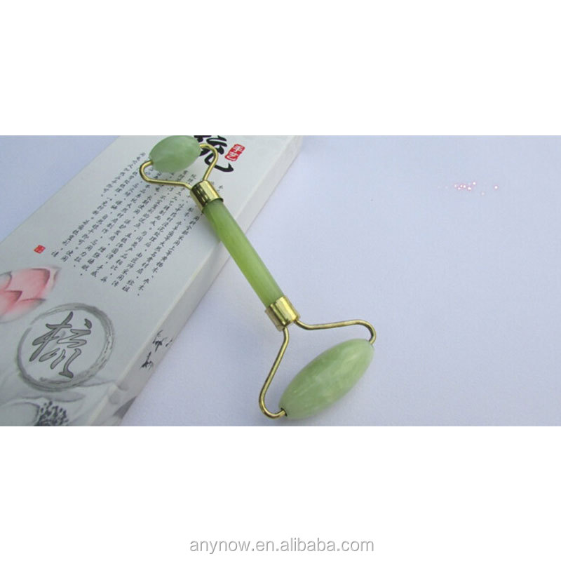Handle Held Double Head Natural Pure Jade Roller Facial Massage Slimming Tool