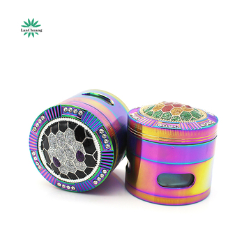 Lanchuang 2019 New Design 63mm 4 layers Colorful Diamond Aluminum Alloy Herb Grinder  Metal Smoking Grinder weed