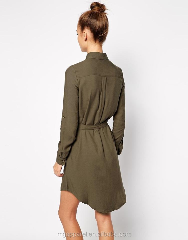 fc0acf0f60d Latest design tie waist curved hem casual elegant woman dress shirt dress  for women 2015