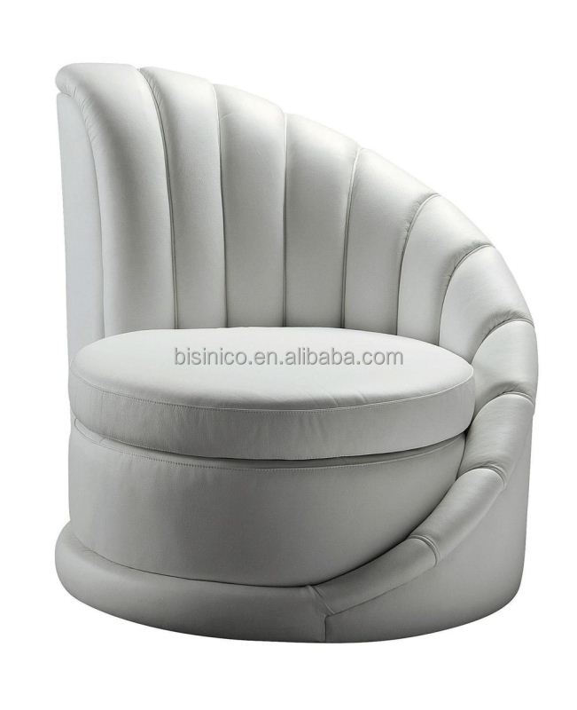 Bisini Postmodern Single Round Sofa,Modern Furniture,Genuine Leather White  Sofa Chair