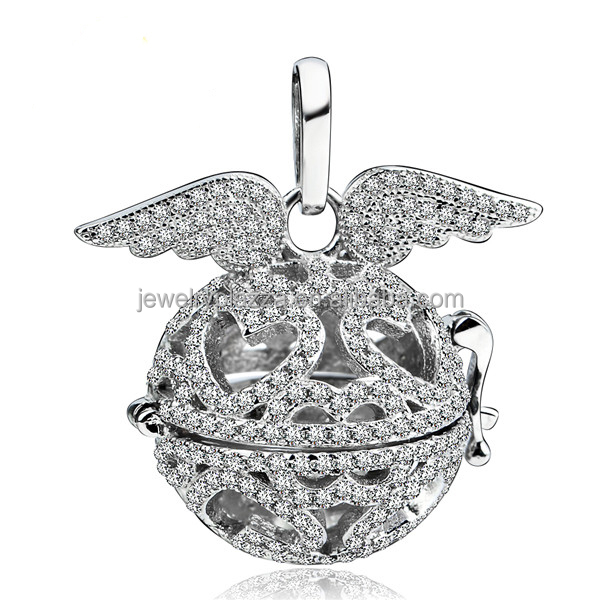 925 Sterling Silver Full CZ Crystal Paved Mexican Bola,Original Harmony Ball CYLZ0099