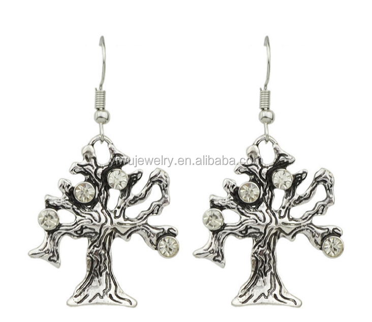 E53-040 <strong>fashion</strong> anti silver plated retro rhinestone tree charm earrings