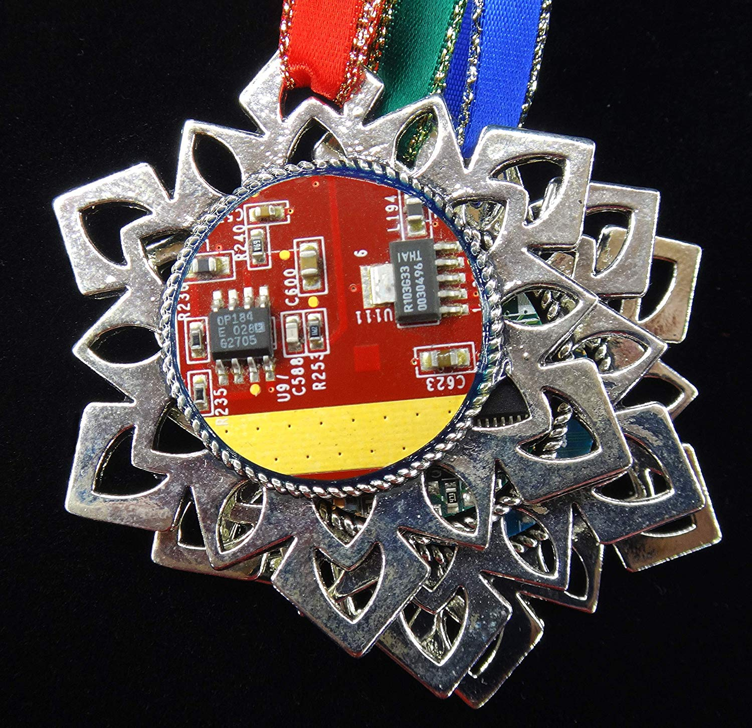 3 Ornaments - ChipScapes Ornaments Set #5: Electronic Circuit Boards (PCB) with Computer Chips