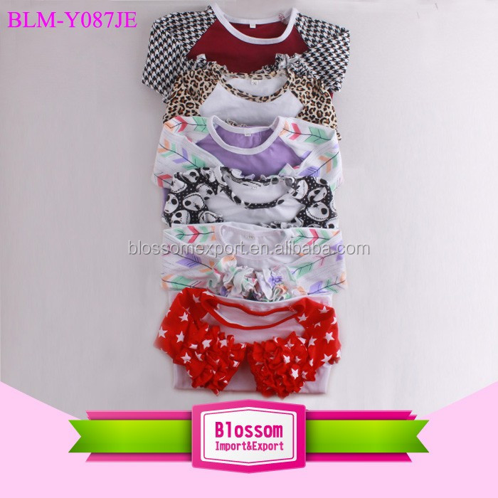 Assorted Color Wholesale Children Raglan Tops 3/4 Length Sleeve Cotton Girls Icing Ruffle Shirt