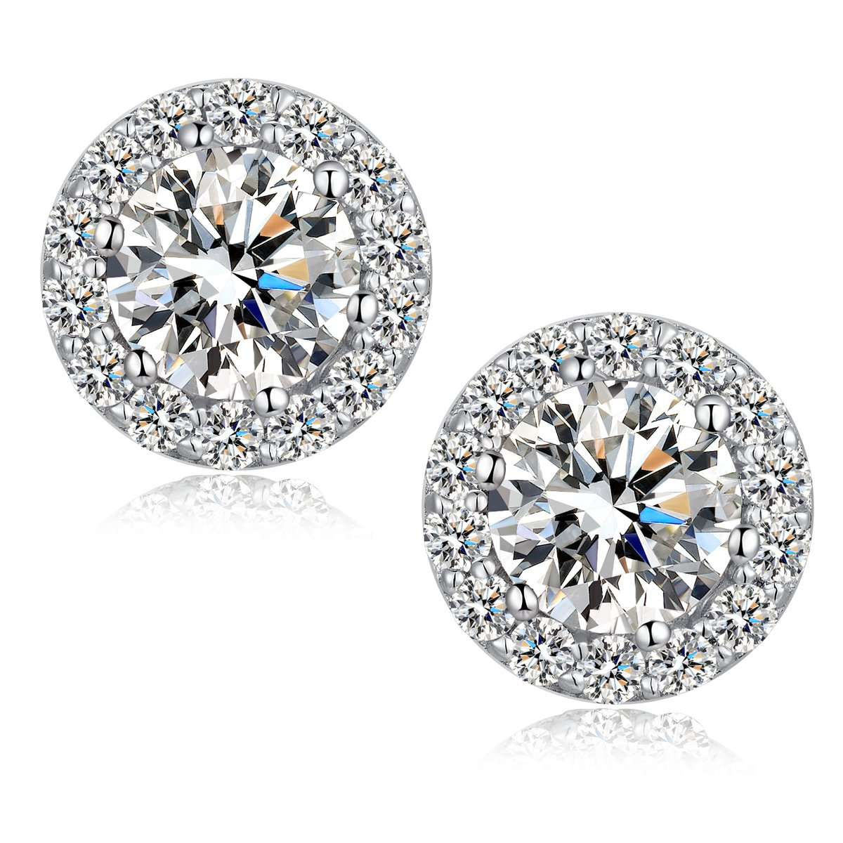 Get Quotations Halo Stud Earrings 18k White Gold Plated Round Shape Sterling Silver