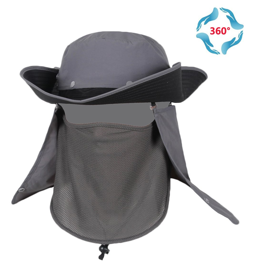 5fb2f8daf37 Get Quotations · T-Wilker 360°UV Sun Protection Fishing Hats Removable  Neck Face Flap Cover Hats Wide