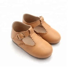 Wholesale Baby Girls Kids Comfortable T bar Shoes Brown Leather Children Shoes