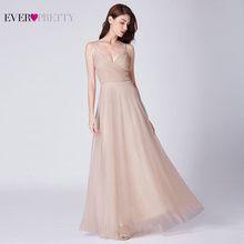 Вечерние платья Ever Pretty EP07369, Длинные розовые шифоновые платья а-силуэта для свадьбы с лифом с рюшами, 2020(China)