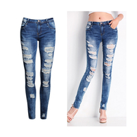 custom newest stretch blue holes denim jeans