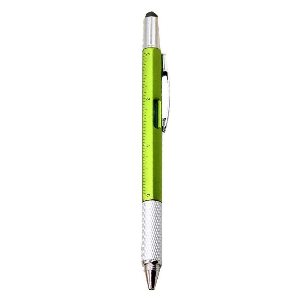 Sameno 6 in 1 Multi-tools Pens Multifunction Ball-point Pen Level Caliper Screwdriver (Green)