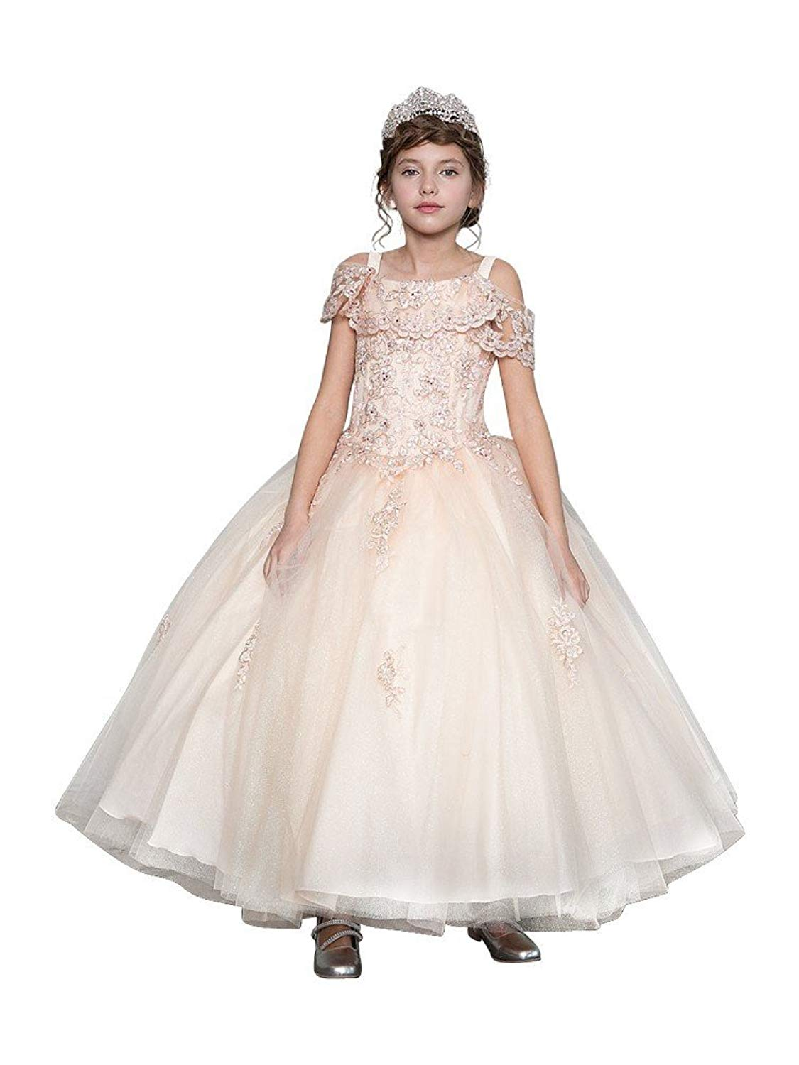 Little Girls Blush Pink Lace Embroidery Off Shoulder Pageant Ball Dress 3-6