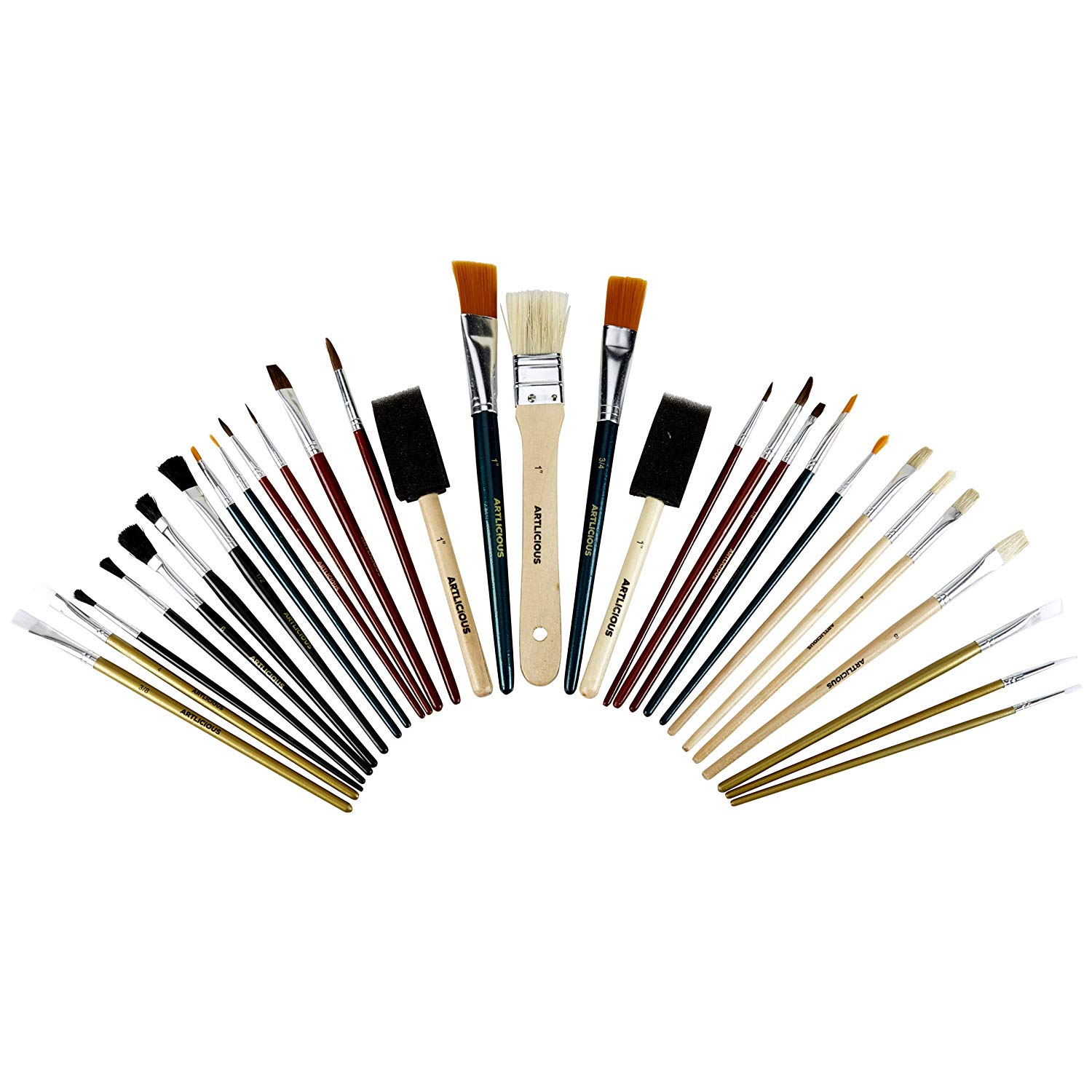 Artlicious - 30 All Purpose Paint Brush Value Pack - Great with Acrylic, Oil, Watercolor, Gouache