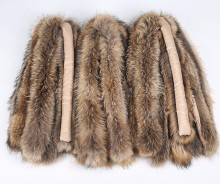 Factory wholesale customized size and color real raccoon fur trim for hood