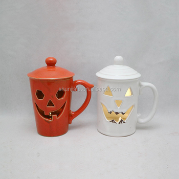 Cup Shape LED Light Halloween Decoration Ceramic pumpkin lamp