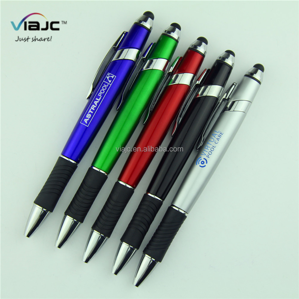High quality metal clip and ring touch stylus pen with wave rubber twist customized logo promotional ball pen