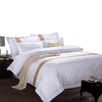 4PCS white cotton queen size bed cover hotel bedding linen set
