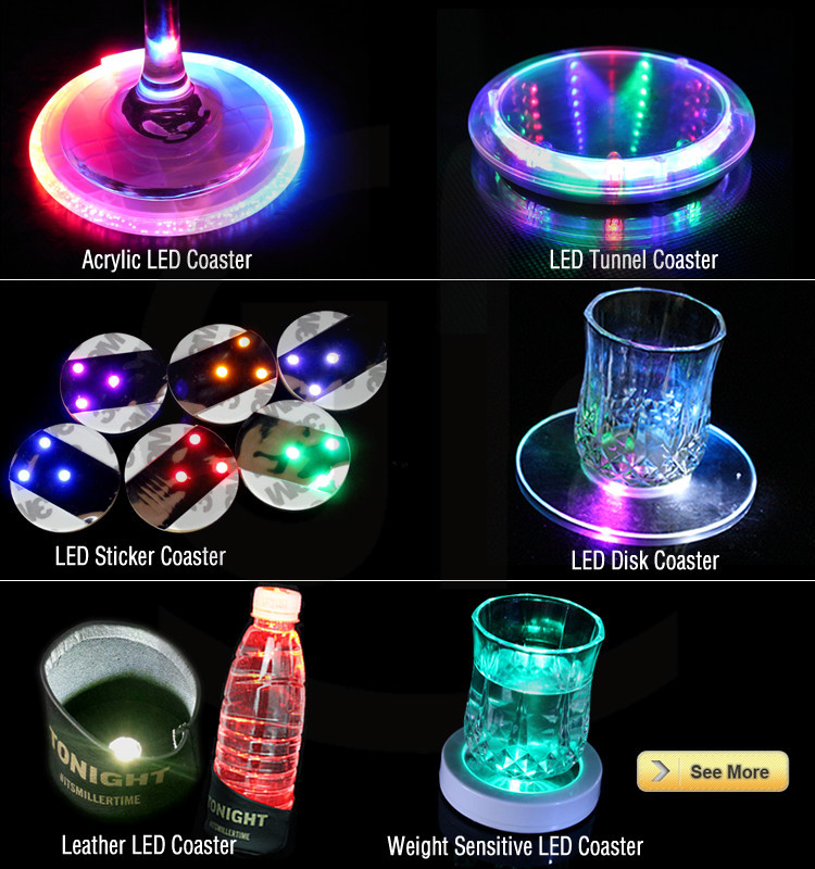 Hot Sale Colorful Led Light Up Music Coaster For Party