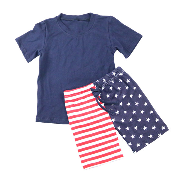 Lovely boy Summer wear clothes set blue shirt shorts with half five star&strip latest boutique outfits for boys