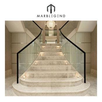 European Chateau Interior Modern Marble Stair Steps Design