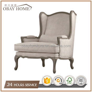 French Style Wing Back Chairs Antique Solid Oak Wood Frame With Armrests