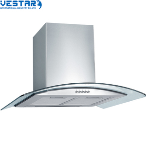 Kitchen stainless steel island range hood with LED lamp