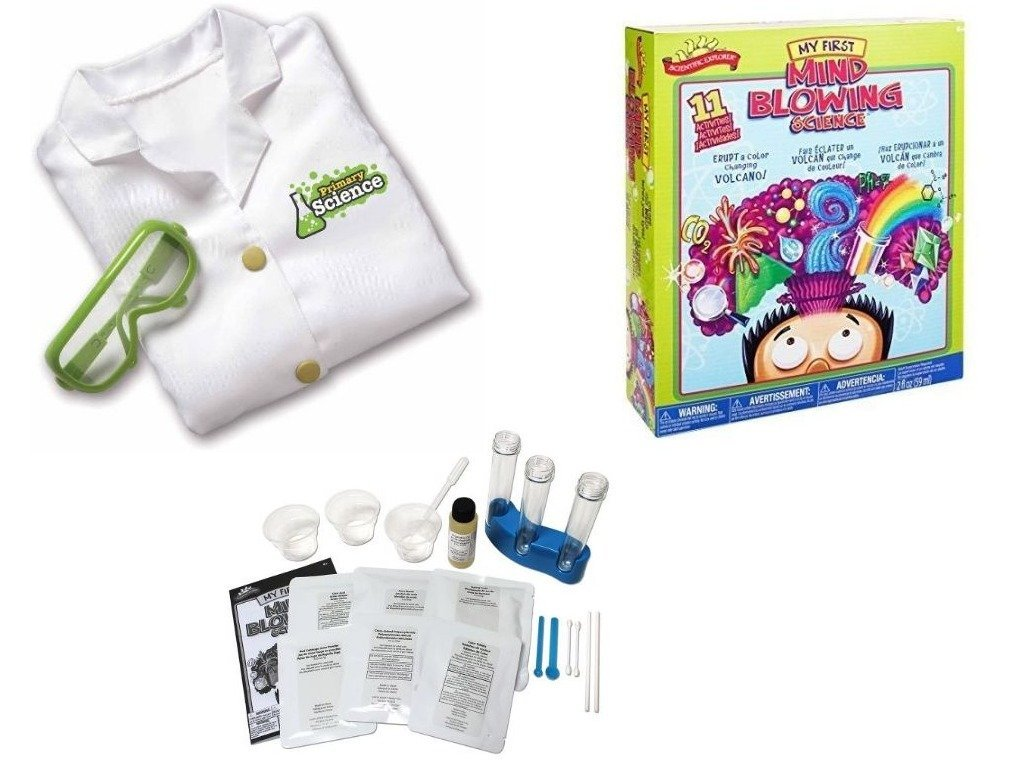 Scientific Explorer My First Mind Blowing Science Chemistry Kit Set for Kids with Learning Resources Primary Science Lab Coat and Glasses Bundle