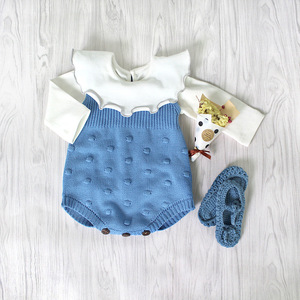 Autumn Cotton Knitted Sleeveless Baby rompers+Long Sleeve Ruffled Collar T shirt Clothes Set