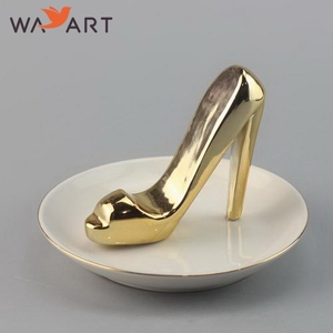 Gold Plated Ceramic Shoe Ring Holder For Gift