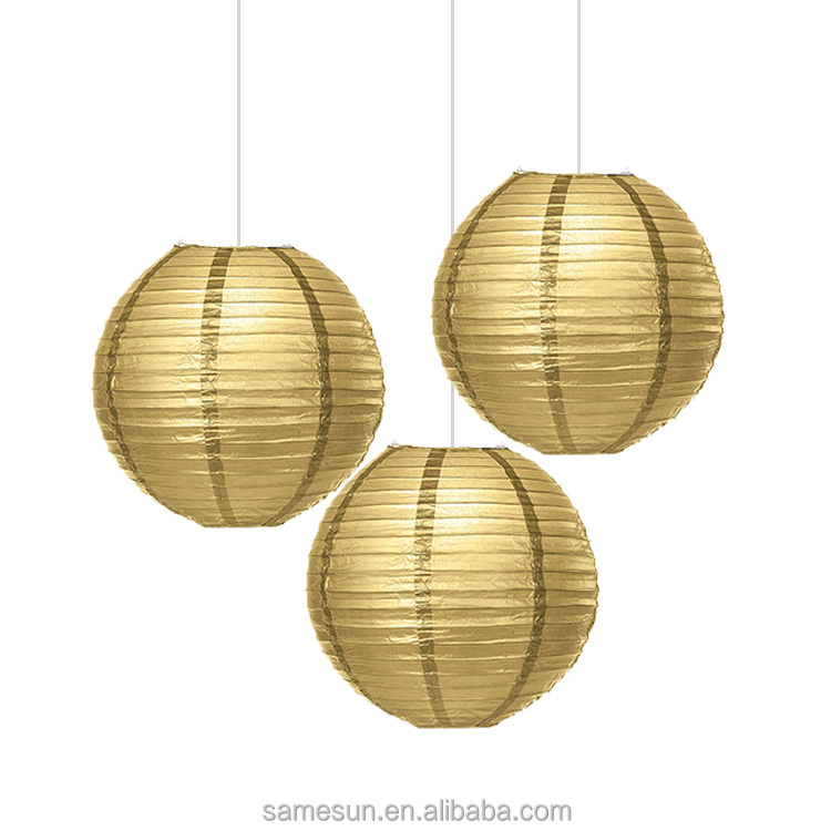 Gold Silver Round Christmas Paper Lanterns