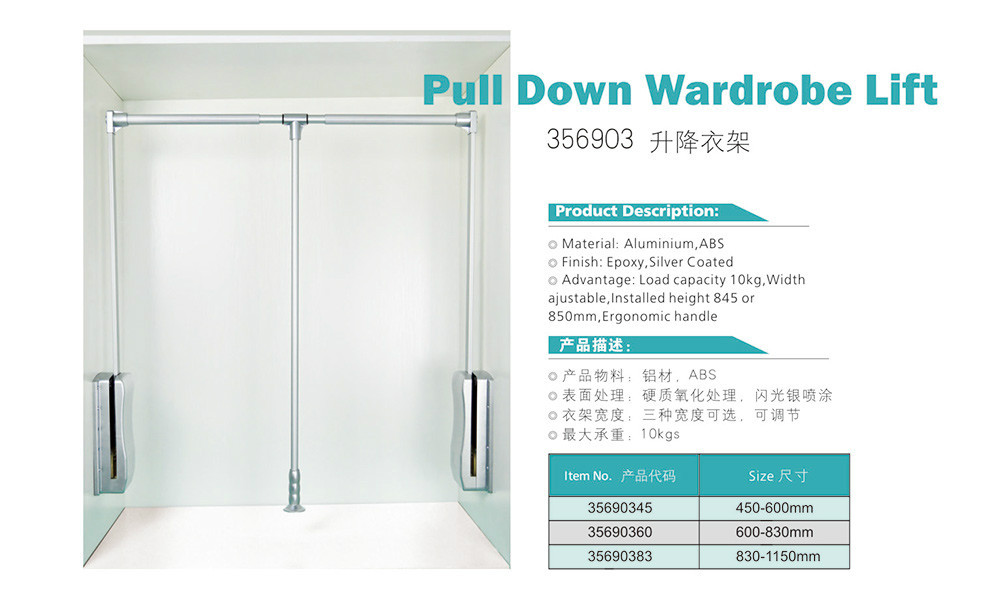 Heavy Duty Pull Down Closet Rod And Wardrobe Lift For High