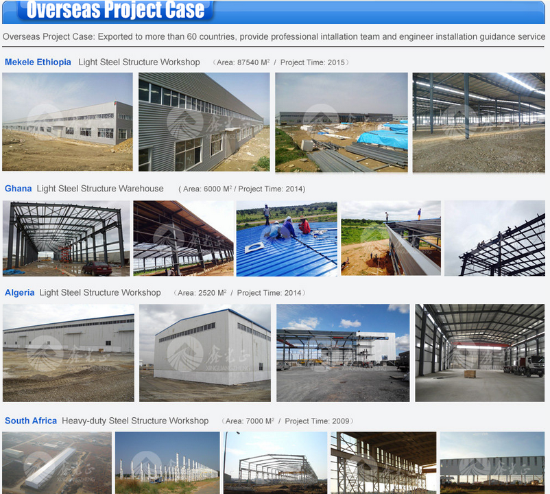 Export to Africa steel structure warehouse workshop and hangar