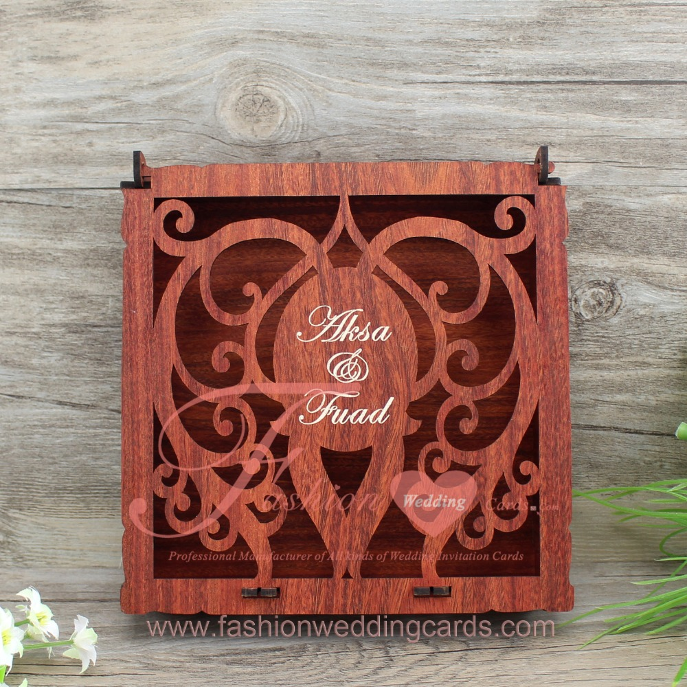 Heart Engraved Vintage Style Wooden Wedding Invitation Box - Buy ...