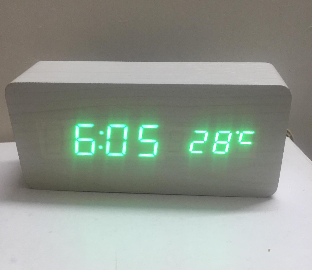 Green Led Digital Segments Display Wooden Mdf Desktop Alarm Clock