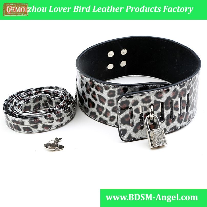 1pc Sexy Leopard Faux Leather sexy Sex Collar and Leash Erotic Toys,Feitsh Slave Collar for Adult Game,Neck Collar Sex Products